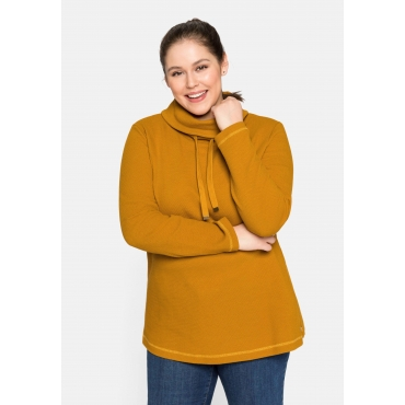 Sweatshirt mit weitem Kragen, in Waffelpiqué-Optik, curry, Gr.44/46-56/58