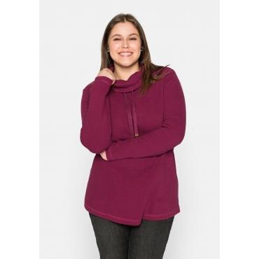 Sweatshirt mit weitem Kragen, in Waffelpiqué-Optik, himbeere, Gr.44/46-56/58