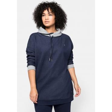 Sweatshirt mit weitem Kragen und Kontrastdetails, marine, Gr.44/46-56/58