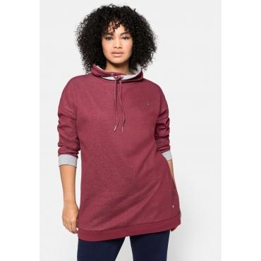 Sweatshirt mit weitem Kragen und Kontrastdetails, rubinrot, Gr.40/42-56/58