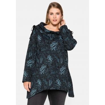 Sweatshirt mit weitem Kragen und Zipfelsaum, schwarz bedruckt, Gr.44/46-56/58