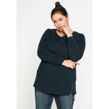 Sweatshirt mit Zippern seitlich, in leichter Qualität, dunkelpetrol, Gr.44/46-56/58