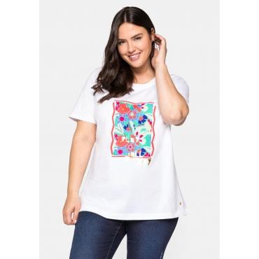 T-Shirt aus Jersey mit Blumenprint und Goldschrift, weiß, Gr.44/46-56/58