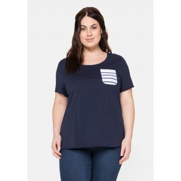 T-Shirt aus Jersey mit gestreifter Brusttasche, marine, Gr.40/42-56/58