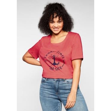 T-Shirt aus Jersey, mit maritimem Print, korallrot, Gr.44/46-56/58