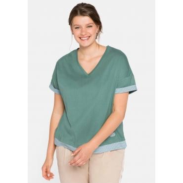 T-Shirt im Lagenlook, mit Oversize-Schnitt, rauchgrün, Gr.44/46-56/58