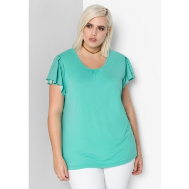 T-Shirt im Materialmix, mint, Gr.44/46-56/58