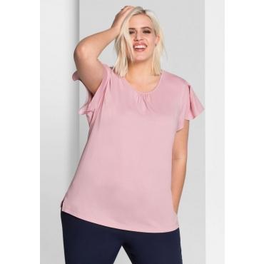 Große Größen: T-Shirt im Materialmix, rosé, Gr.44/46-56/58