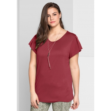 Große Größen: T-Shirt im Materialmix, rubinrot, Gr.44/46-56/58