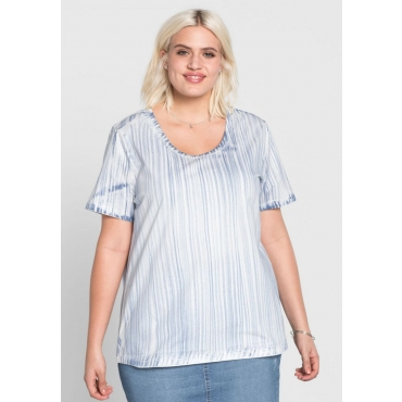 Große Größen: T-Shirt im Streifen-Design, weiß-blau, Gr.44/46-56/58
