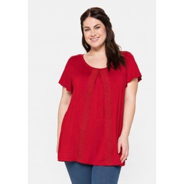 T-Shirt in A-Linie, mit Kellerfalte und Spitzenborte, karminrot, Gr.40/42-56/58