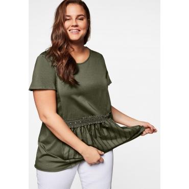 T-Shirt in A-Linie, mit Schößchen und Spitzen-Applikation, dunkelkhaki, Gr.44/46-56/58