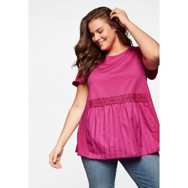 T-Shirt in A-Linie, mit Schößchen und Spitzen-Applikation, pink, Gr.44/46-56/58