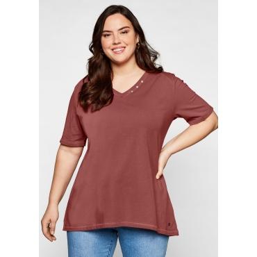 T-Shirt in A-Linie mit Zierknöpfen am V-Ausschnitt, marsala, Gr.44/46-56/58
