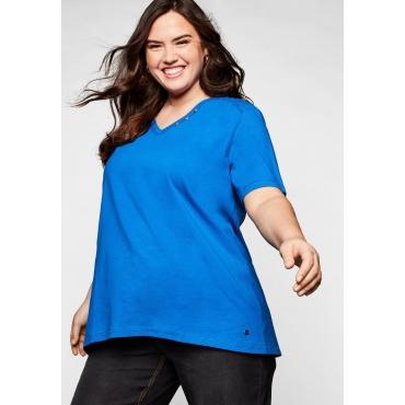 T-Shirt in A-Linie mit Zierknöpfen am V-Ausschnitt, royalblau, Gr.44/46-56/58