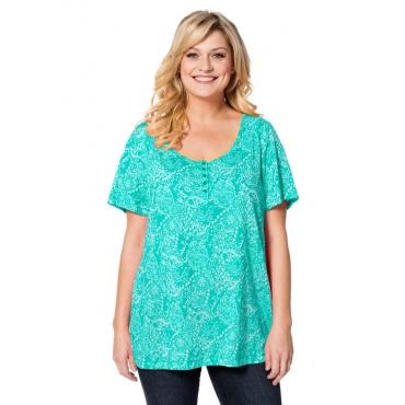 Große Größen: T-Shirt in Ausbrenner-Qualität, aqua, Gr.40/42-56/58