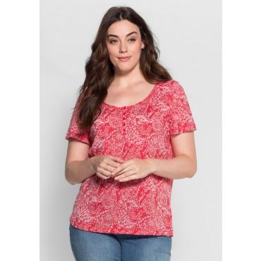 Große Größen: T-Shirt in Ausbrenner-Qualität, hibiskus, Gr.40/42-56/58