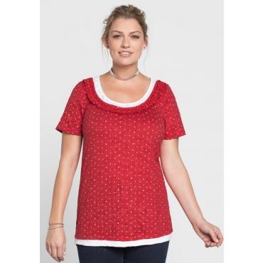 Große Größen: T-Shirt in Crinkle-Optik, mohnrot, Gr.40/42-56/58