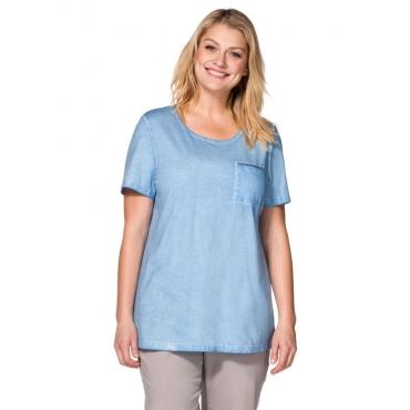Große Größen: T-Shirt in Oil-washed-Optik, bleu, Gr.40/42-56/58