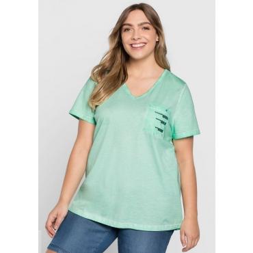 Große Größen: T-Shirt in Oil-washed-Optik, minze, Gr.44/46-56/58