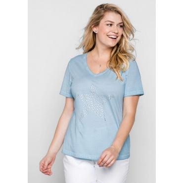 Große Größen: T-Shirt in Oil-washed-Optik, pastellblau, Gr.44/46-56/58