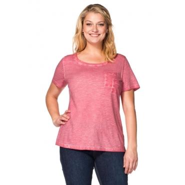 Große Größen: T-Shirt in Oil-washed-Optik, wüstenrose, Gr.40/42-56/58