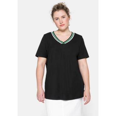 T-Shirt in Piqué-Qualität mit Kontrastdetails, schwarz, Gr.44/46-56/58
