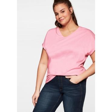 T-Shirt in strukturierter Wabenoptik, rosa, Gr.44/46-56/58