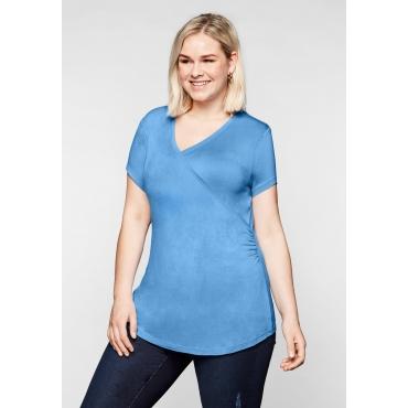 T-Shirt in Wickeloptik mit seitlicher Raffung, jeansblau, Gr.44/46-56/58
