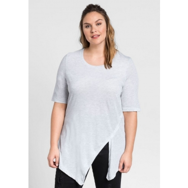 Große Größen: T-Shirt in Zipfelform, hellgrau meliert, Gr.44/46-56/58