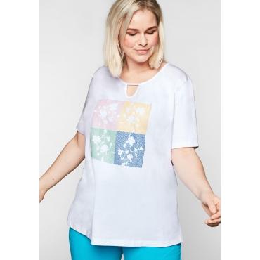T-Shirt mit 3D-Druck und Glitzereffekten, weiß bedruckt, Gr.44/46-56/58