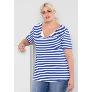 Große Größen: T-Shirt mit Allover-Streifendruck, royalblau-weiß, Gr.44/46-56/58
