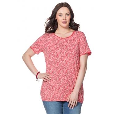 T-Shirt mit Alloverdruck und Häkelspitze, flamingo, Gr.40/42-56/58