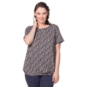 Große Größen: T-Shirt mit Alloverdruck, marine, Gr.40/42-56/58