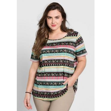 Große Größen: T-Shirt in A-Linie mit Alloverdruck, schwarz bedruckt, Gr.44/46-56/58