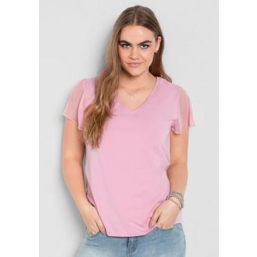 Große Größen: T-Shirt mit Chiffonärmeln, rosé, Gr.40/42-56/58