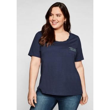 T-Shirt mit dekorativem Rundhalsausschnitt, marine, Gr.44/46-56/58