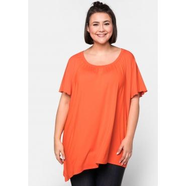 T-Shirt mit diagonalem Saum und Flügelärmeln, orange, Gr.44/46-56/58