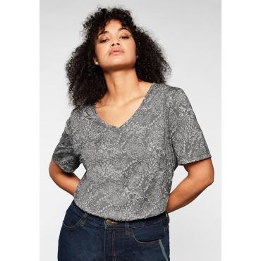 T-Shirt mit Druck in Ausbrenner-Optik, leicht transparent, rauchgrau, Gr.44/46-56/58