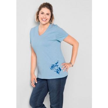 Große Größen: T-Shirt mit Druck, pastellblau, Gr.40/42-56/58