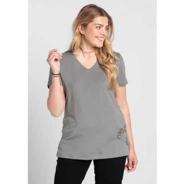 Große Größen: T-Shirt mit Druck, steingrau, Gr.40/42-56/58