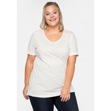 T-Shirt mit Einsatz aus Spitze an den Schultern, offwhite, Gr.44/46-56/58