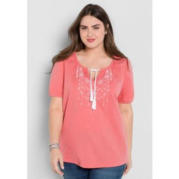 Große Größen: T-Shirt mit Flockdruck, guave-weiß, Gr.44/46-56/58