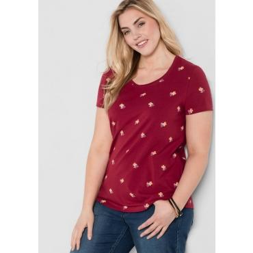 Große Größen: T-Shirt mit floralem Alloverdruck, bordeaux, Gr.44/46-56/58