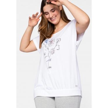 T-Shirt mit floralem Druck und überschnittenen Ärmeln, weiß bedruckt, Gr.44/46-56/58
