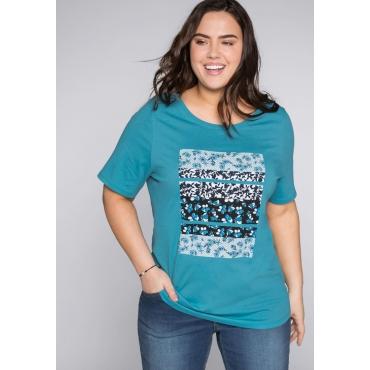 T- Shirt mit floralem Frontdruck, türkis, Gr.44/46-56/58