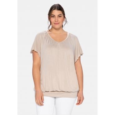 T-Shirt mit Flügelärmeln, aus Viskosejersey, beigefarben, Gr.40/42-56/58