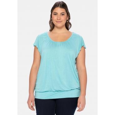 T-Shirt mit Flügelärmeln und breitem Bund, helltürkis, Gr.40/42-56/58