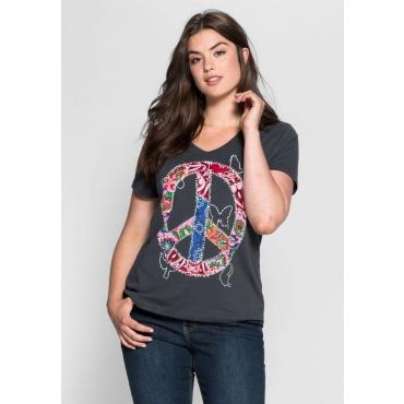 Große Größen: T-Shirt mit Frontdruck, anthrazit, Gr.40/42-56/58