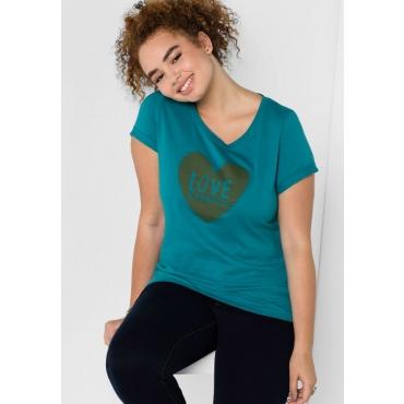 Große Größen: T-Shirt mit Frontdruck in Herzform, dunkeltürkis, Gr.40/42-56/58